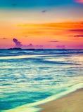 över havssolnedgång Härligt landskap Royaltyfri Bild