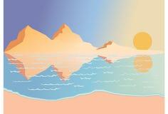 över havssoluppgång stock illustrationer