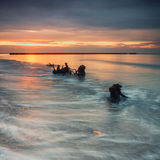 över havssoluppgång Royaltyfri Bild