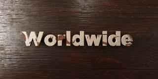 Över hela världen - grungy trärubrik på lönn - 3D framförde fri materielbild för royalty Arkivfoton