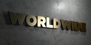 Över hela världen - guld- tecken som monteras på den glansiga marmorväggen - 3D framförde den fria materielillustrationen för roy Royaltyfri Bild