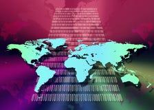 Över hela världen - internet - cyberspace Arkivbild