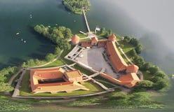 Över huvudet flyg- sikt av den Trakai slotten i Litauen Arkivfoto