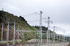 Över huvudet linjer för järnväg Royaltyfri Fotografi
