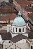 Över huvudet sikt av den gamla staden, Quito, Ecuador royaltyfria bilder