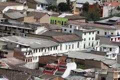 Över huvudet sikt av den gamla staden, Quito, Ecuador arkivfoto