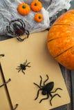Över huvudet sikt av halloween garnering med den öppna anteckningsboken Arkivbild