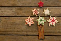 Över huvudet sikt av julgranen som göras med stjärnaformkakor och kanelbruna pinnar royaltyfri foto