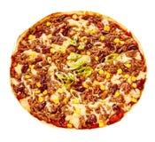 Över huvudet sikt av pizzapajen som göras med bönor fotografering för bildbyråer
