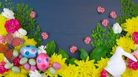 Över huvudet skärm för påsk av nya vårblommor på mörkt - blå trätimelapse