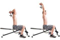 Över huvudet tricepsförlängning Arkivbilder
