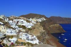 Över kullarna i Oia Santorini Royaltyfri Foto