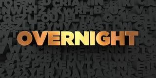 Över natten - guld- text på svart bakgrund - 3D framförde den fria materielbilden för royalty Royaltyfri Fotografi