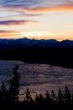 över solnedgångdalen yellowstone Arkivfoto