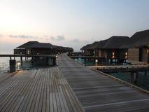Över vattenvillan i Maldiverna royaltyfri bild