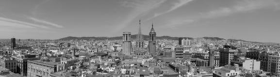 Överblick av den gotiska fjärdedelen av Barcelona Arkivfoto