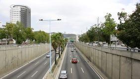 Överblick av den Ronda de Dalt Maternity byggnaden arkivbild