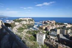 Överblick av Fontvieille och den Monaco staden, Monaco Fotografering för Bildbyråer