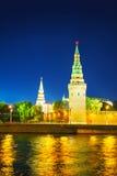 Överblick av i stadens centrum Moscow på nighttimen Fotografering för Bildbyråer