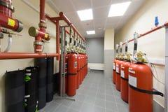 Överblick av industriell brand - släckningssystem. royaltyfri foto