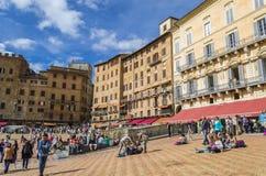 Överblick av Piazza del Campo i Siena Tuscany, Italien arkivfoto