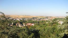 Överblick av staden av Burgos, Spanien Arkivfoto