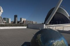 Överblick av staden av konster och vetenskaper på Valencia arkivbilder