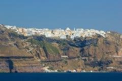 Överblick på Fira i Santorini royaltyfri fotografi