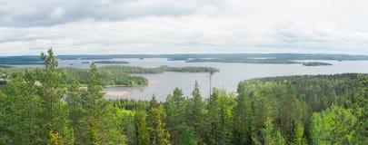 Överblick på päijännesjön från den geodetiska bågen för struve på moun royaltyfri bild