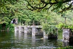 Överbrygga att leda till huset för fiske för munk` s på Cong Abbey, ståndsmässiga Mayo, Irland Royaltyfri Fotografi