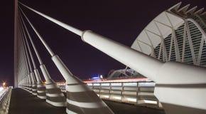 Överbrygga grunden på natten i staden av Valencia, Spanien Royaltyfri Bild