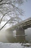 Överbrygga sträckning in i den frostiga dimman Fotografering för Bildbyråer