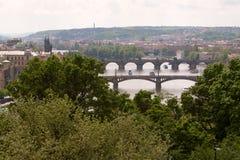 Överbryggar på Vltava, Prague, den tjeckiska republiken Royaltyfri Bild