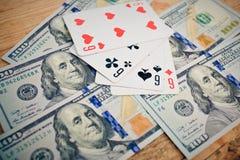 överdängare cards leka poker fyra Royaltyfria Bilder