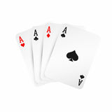 överdängare fyra Vinnande begrepp för pokerhand Spela kort som isoleras på vit bakgrund stock illustrationer