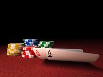 överdängarechiper parar poker Royaltyfri Bild