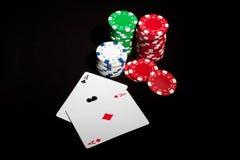 överdängarechiper parar poker Fotografering för Bildbyråer
