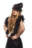 Överdådig kvinna med långt hår Arkivbilder