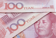 100 överdrade yuan Arkivfoto