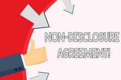 Överenskommelse för avslöjande för handskrifttext Non Begreppet som betyder partier, instämmer för att inte avslöja handen för fö royaltyfri illustrationer
