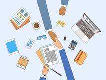 Överenskommelse för möte för handskakning för affärsfolk undertecknande, sammanträde för affärsmanhandskaka på den skrivbords- vi stock illustrationer