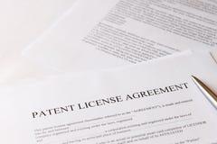 Överenskommelse för patenterad licens arkivfoto