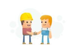 Överenskommelse mellan byggmästaren och mekanikern stock illustrationer