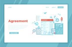 Överenskommelse partnerskap, framgångavtal, kontraktskrivning, transaktionsmoment Affärsdokument med häften och stämplar, affär royaltyfri illustrationer