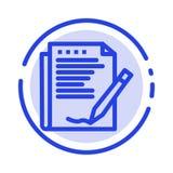 Överenskommelse rapport, form, orientering, pappers- blå prickig linje linje symbol stock illustrationer