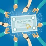 Överensstämmelse för affär för miljö- normal för ledning för ISO 14000 till för handrevision för internationell organisation doku Fotografering för Bildbyråer