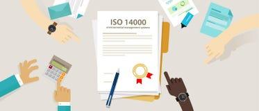 Överensstämmelse för affär för miljö- normal för ledning för ISO 14000 till för handrevision för internationell organisation doku Arkivbilder