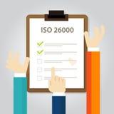 Överensstämmelse för affär för normal för socialt ansvar för ISO 26000 till för handrevision för internationell organisation doku royaltyfri illustrationer