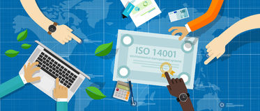 Överensstämmelse för normal för attestering för system för miljö- ledning för ISO 14001 royaltyfri illustrationer