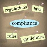 Överensstämmelse härskar anslagstavlan för reglementelaganvisningar Arkivfoto